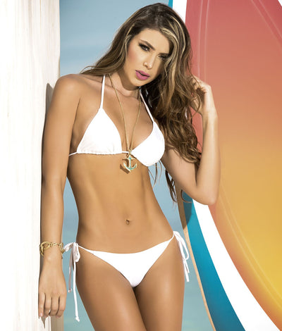 Triangle Thong Bikini Swim Set in White