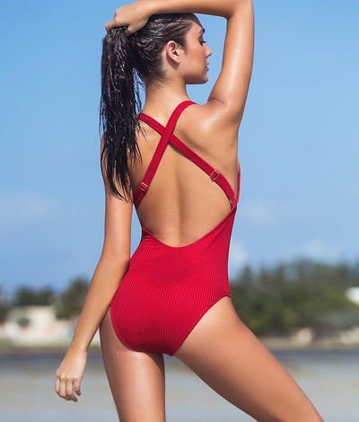 Ribbed Plunge One-Piece in Red