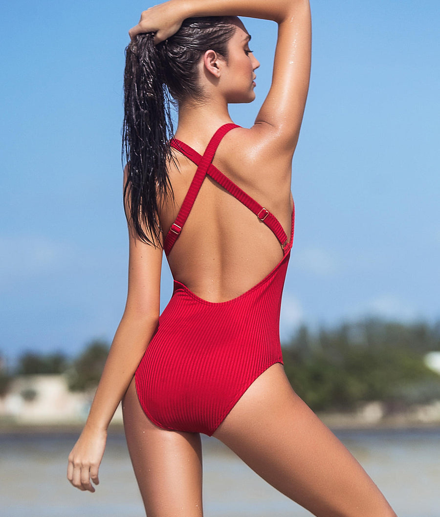Ribbed Plunge One-Piece