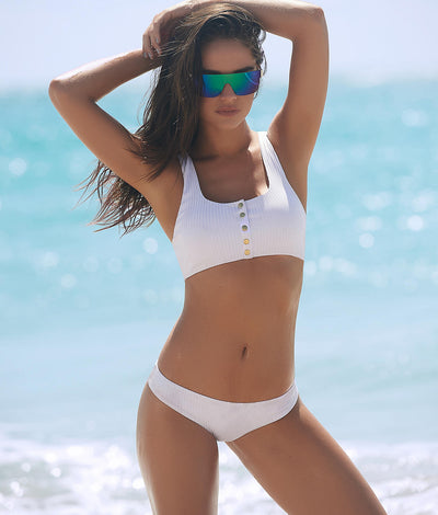 Ribbed Racerback Bikini Set in White