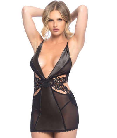 Viletta Chemise Set in Black