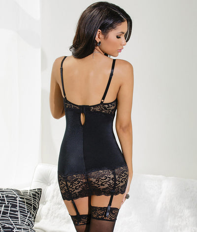 Open Cup Garter Chemise  in Black