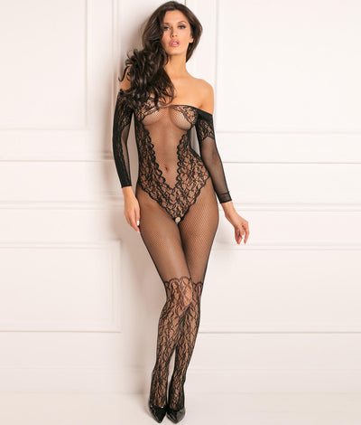 Make You Melt Crotchless Bodystocking in Black