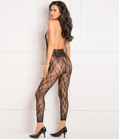 Lacy Movie Bodystocking in Black