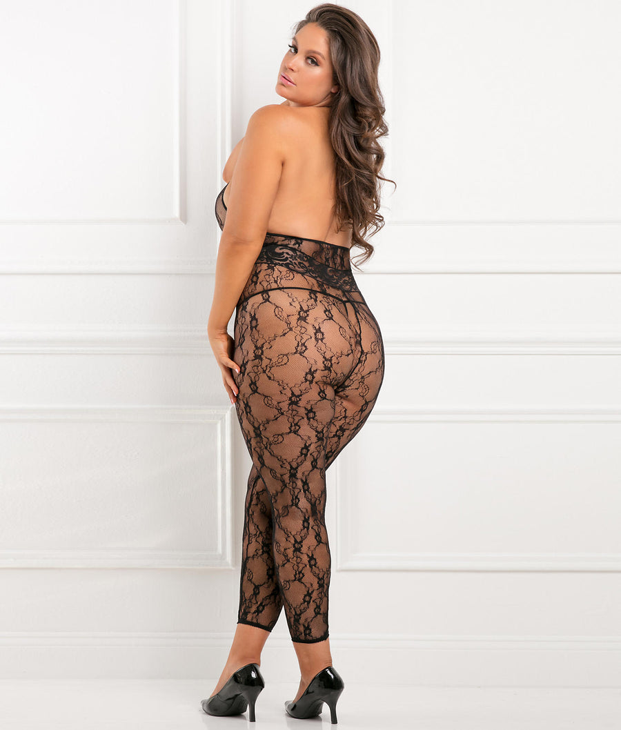 Black||Plus Size Lacy Movie Bodystocking in Black
