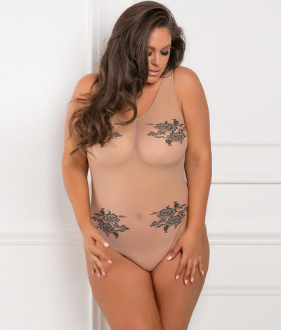 Plus Size Romantic Bodysuit in Nude