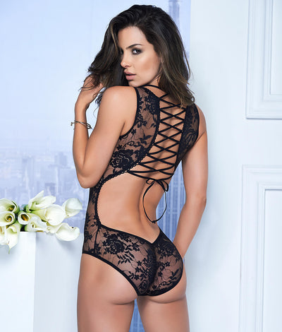 Lace-Up Teddy in Black