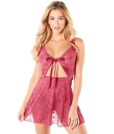 Alaine Babydoll Set in Hollyberry Pink