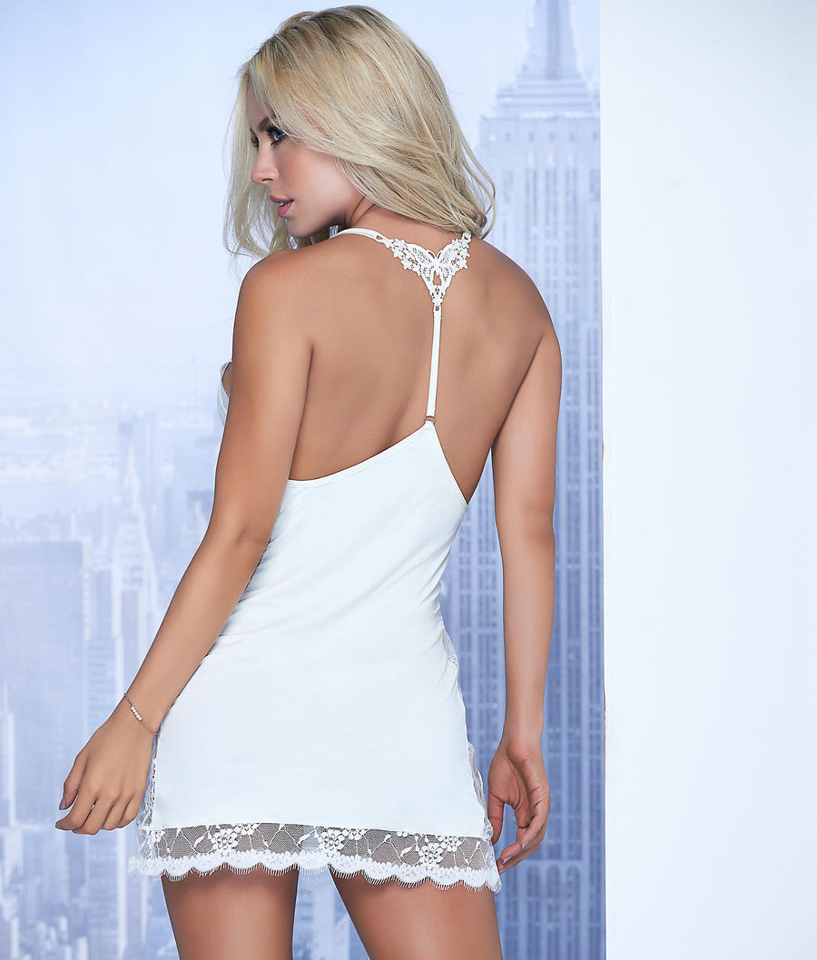 Ivory||T-Back Wireless Babydoll Set in Ivory