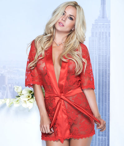 Lace Robe & Matching G-String Set in Red