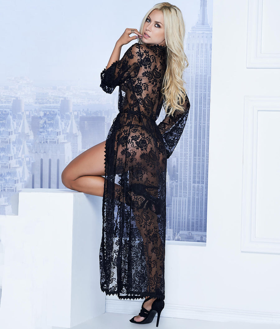 Black||Long Lace Robe & G-String Set in Black