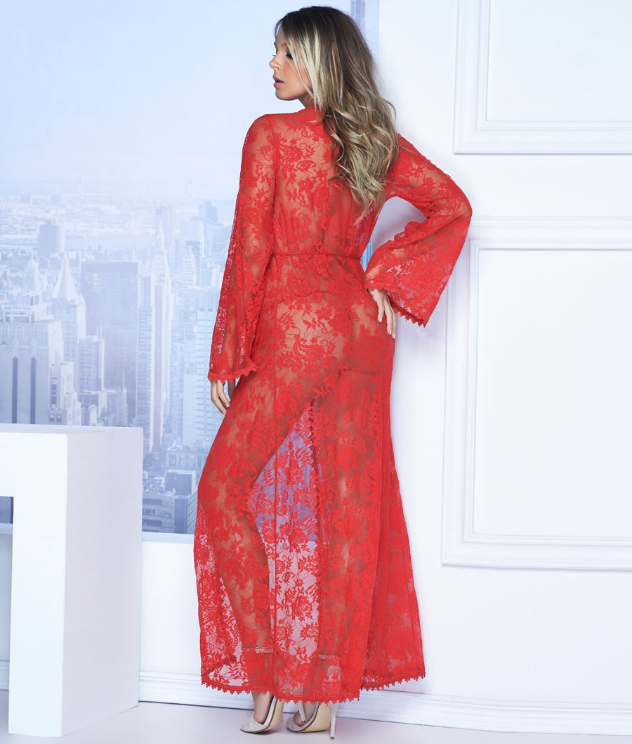 Red||Long Lace Robe & G-String Set in Red