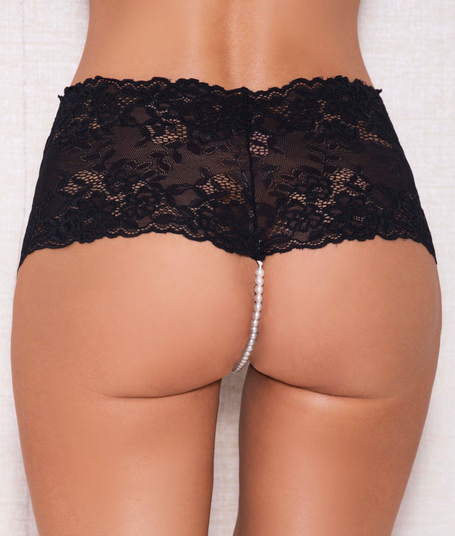 Black||Lace And Pearl Boyshort in Black