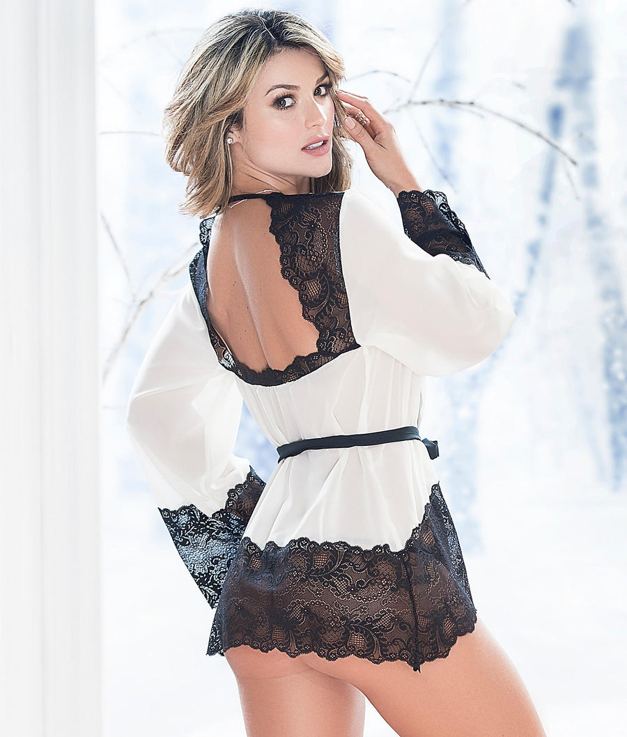 Black / Ivory||Chiffon & Lace Robe Set in Black / Ivory