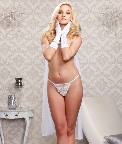 Plus Size Chiffon Bridal G-String in White