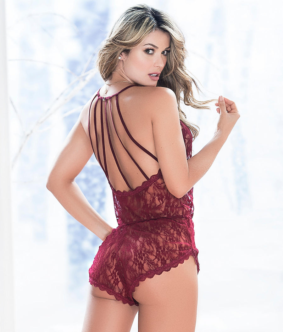 Burgundy Red||Lace Romper in Burgundy Red