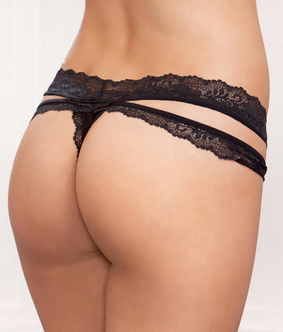 Strappy Lace Thong in Black