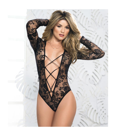 Lace-Up Plunge Teddy in Black