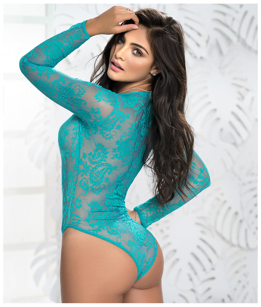 Turquoise||Lace-Up Plunge Teddy in Turquoise