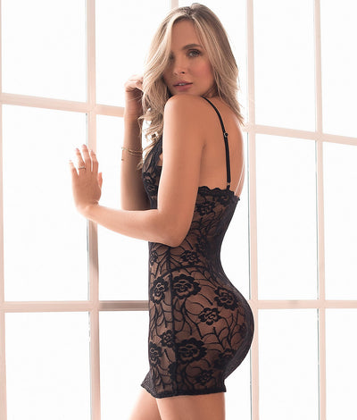 Sheer Floral Chemise Set in Black