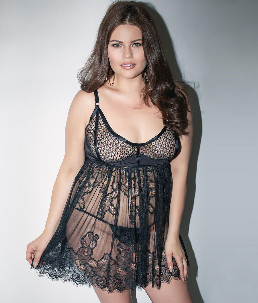 Black||Plus Size Harness Ambitions Babydoll Set in Black