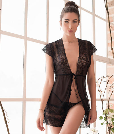 Sheer Lace Robe & Panty Set in Black
