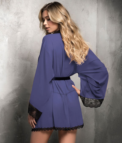 Bell Sleeve Robe Set in Midnight Blue