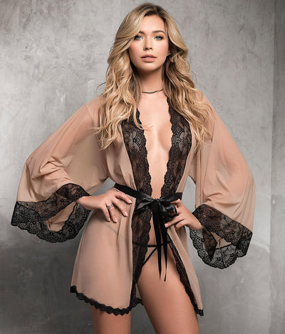 Bell Sleeve Robe Set in Nude / Black