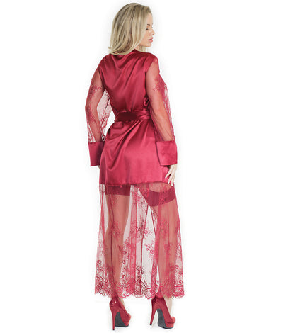 Treasures Long Robe in Merlot Red