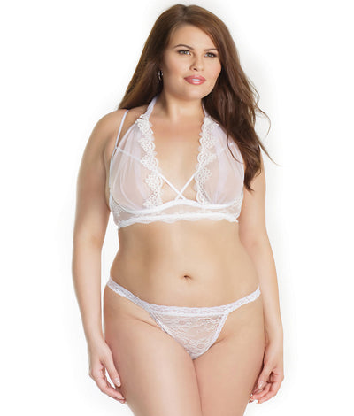 Plus Size Bridal Peek-A-Boo Bra Set in White