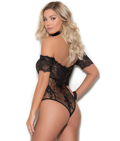 Blair Off-The-Shoulder Lace Teddy in Black