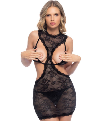 Open Cup Chemise Set in Black