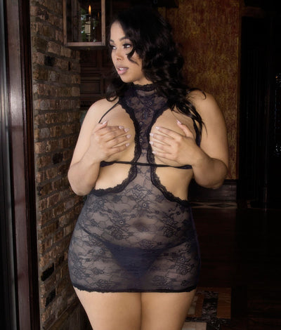 Plus Size Open Cup Chemise Set in Black