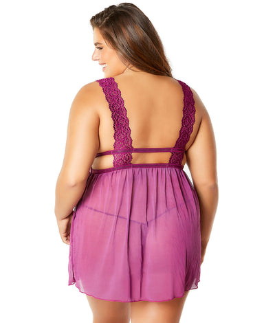 Plus Size Nora Babydoll Set in Amaranth Purple