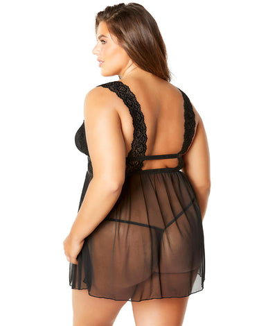 Plus Size Nora Babydoll Set in Black
