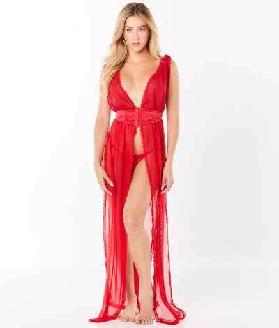 Sheer Gown Set in Red