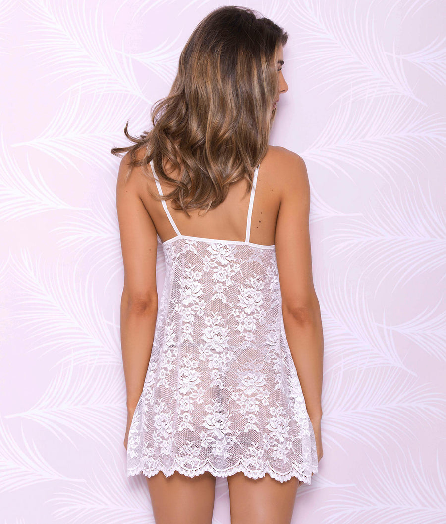 White||All Over Lace Chemise in White