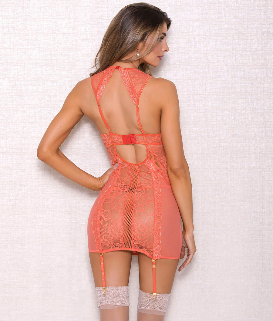 Coral||High Neck Garter Chemise Set in Coral