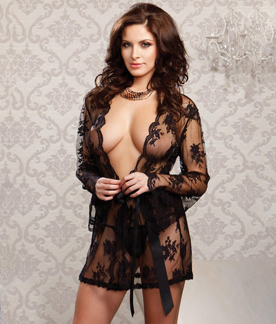Floral Lace Robe in Black