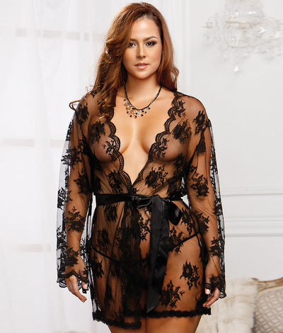 Plus Size Floral Lace Robe in Black