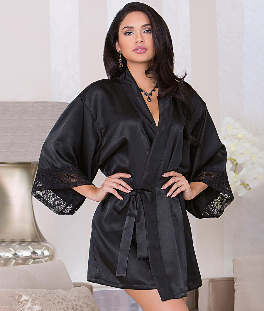 Black||Satin Keyhole Back Robe in Black