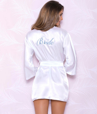 Woven Satin Bridal Robe in White