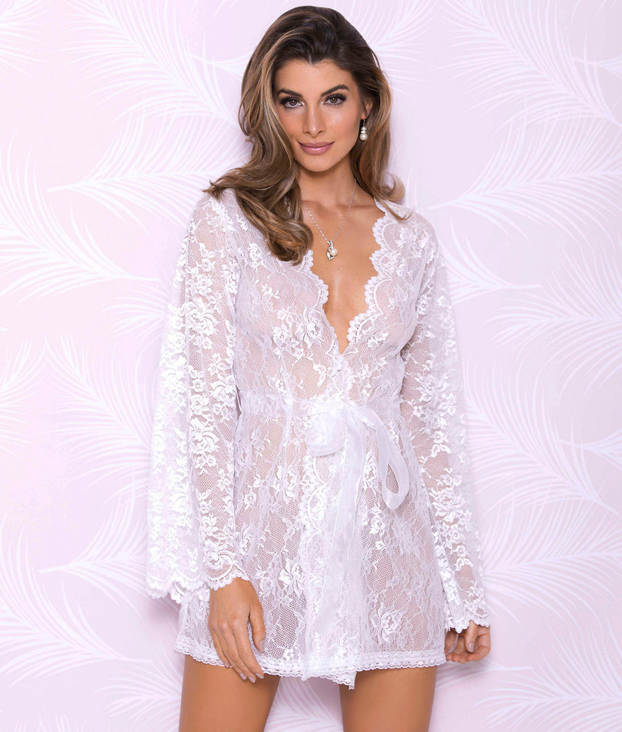 White||All Over Lace Robe in White