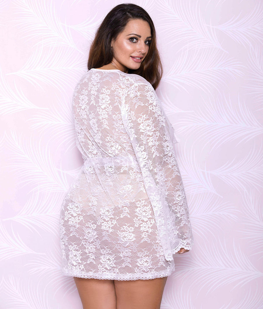 White||Plus Size All Over Lace Robe in White
