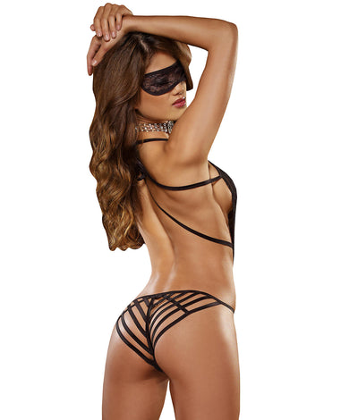 Lace Teddy And Eyemask Set in Black