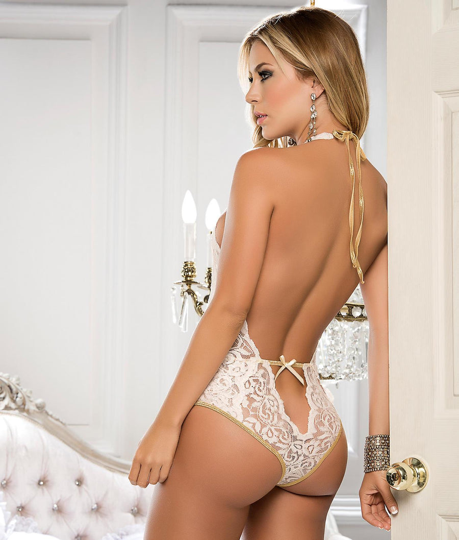 Ivory||Deep-V Wireless Halter Teddy in Ivory