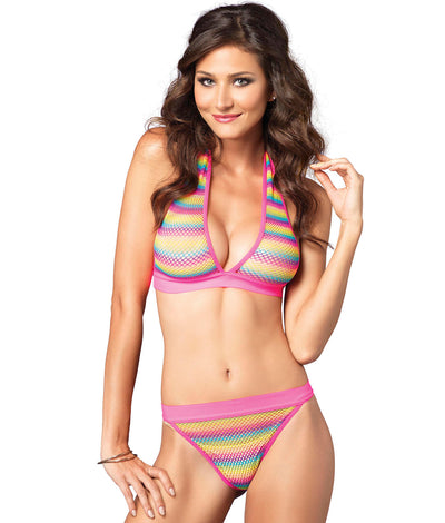 Rainbow Fishnet Halter Wire-Free Bra & Panty Set in Multi