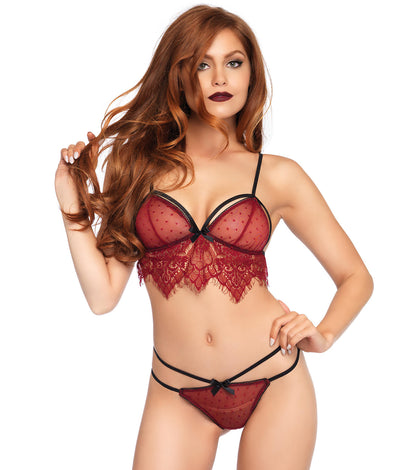 Swiss Dot Wire-Free Cage Bra Set in Burgundy Red