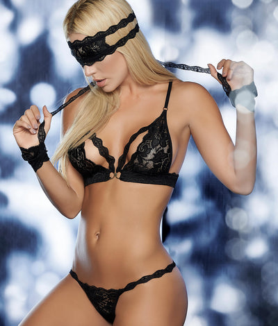 Exotic Lingerie Fantasy Set in Black
