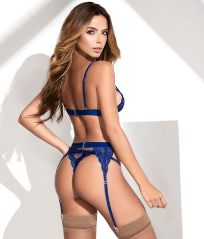 Cage Lace Wireless Bra & Garter Set in Royal Blue